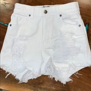 Revice White Jean Shorts